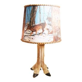 Mid Century Deer Hoof Lamp with Original Shade