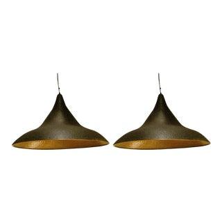 Pair of Hammered Metal Pendant Light Fixtures