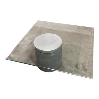 Modern Glass and Cement Coffee Table
