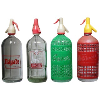 Set of 4 Mid-century Spanish Seltzer Bottles, circa 1960s