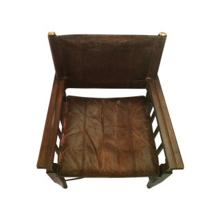 Mid-Century Modern Wood & Leather Sling Chair