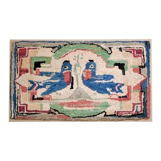 Folky Hand-Hooked Mounted Blue Birds Rug from Pennsylvania