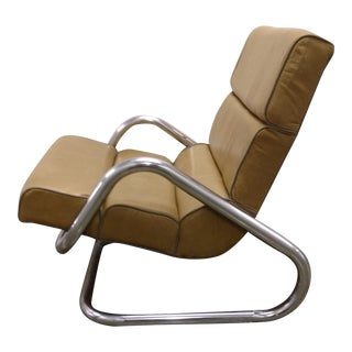 Mid-Century Cantilevered Leather Chair