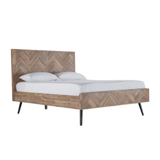 Mid-Century Modern Pine Bed Queen