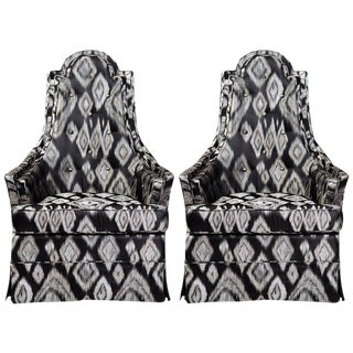 Pair of Hollywood Regency Lounge Chairs in Graphic Ikat Silk