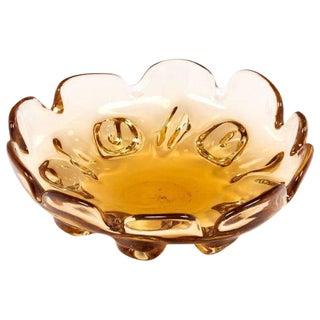 Circa 1950 Murano Glass Amber Bowl