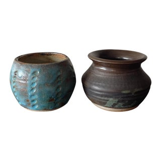 Earthy Blue & Brown Studio Pottery Vases - A Pair