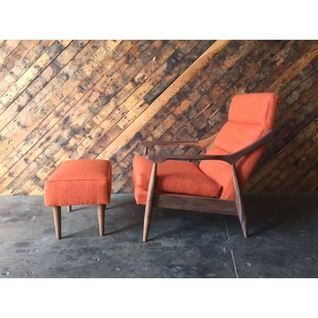 Custom Mid Century Lounge Chair With Ottoman - Image 2 of 6
