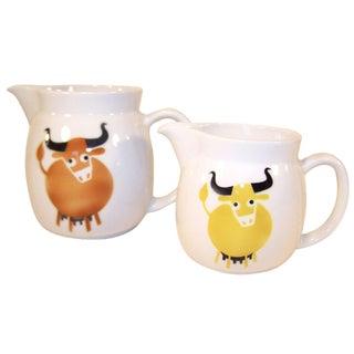 Vintage Kaj Franck Ceramic Milk Pitchers - A Pair
