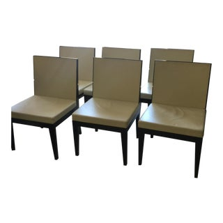 Leather and Wood Dining Chairs - Set of 6