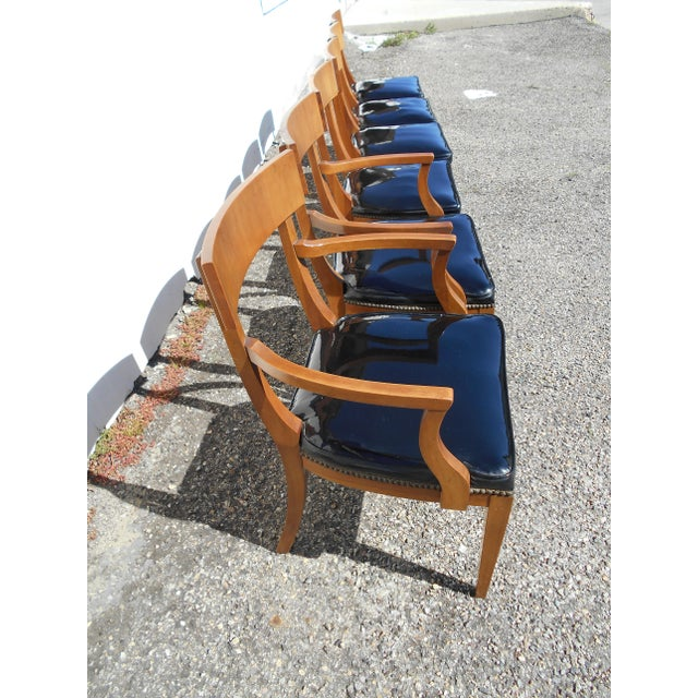 Mid-Century Patent Leather Dining Chairs - Set of 6 - Image 7 of 11