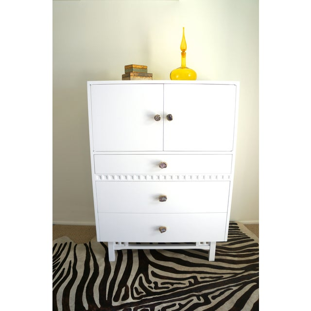 Mid-Century White Crystal Stone Pull Cabinet - Image 2 of 11