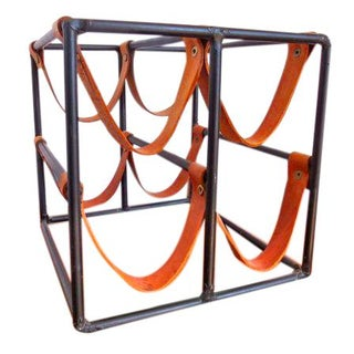 Arthur Umanoff Iron & Leather Wine Rack