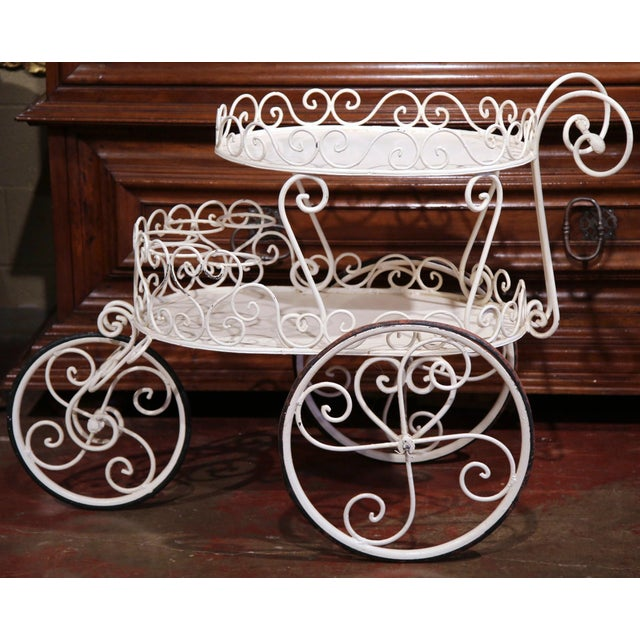 Early 20th Century French Painted Iron Two-Tier Bar Cart on Wheels for Patio - Image 4 of 8