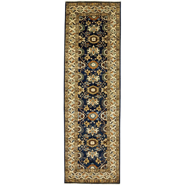 "Serapi Blue & Tan Hand-Knotted Runner - 3' 7"" X 11' 8"" - Image 1 of 3"