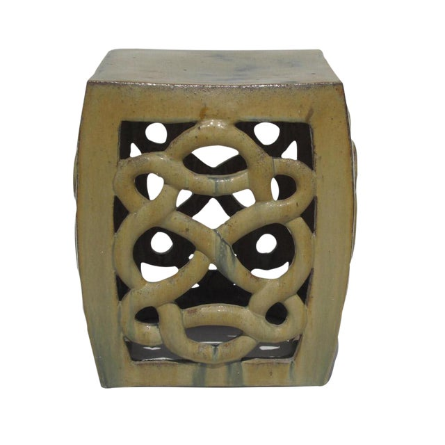 Cream Yellow Ceramic Clay Twist Knot Square Stool Ottoman - Image 1 of 5