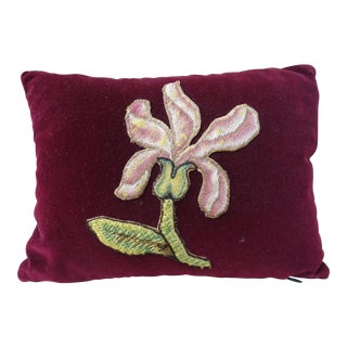 Burgundy Mohair Pillow with Applique Flower