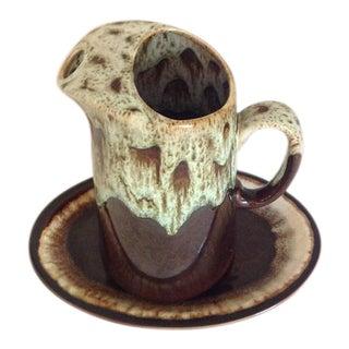 Pfaltzgraff Brown Oval Platter & Brown Drip Glaze Pitcher - A Pair