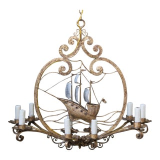 Ten Light Gold & Silvered Iron Ship Chandelier