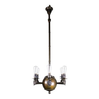 """Arts and Crafts Rare """"Monk Face"""" Fixture with Six Lights"""