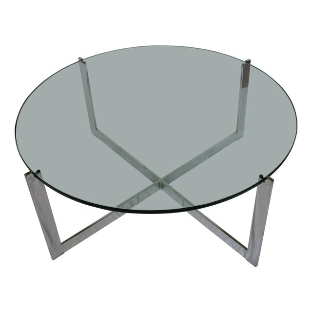 Milo Baughman Chrome & Glass Round Coffee Table - Image 1 of 11