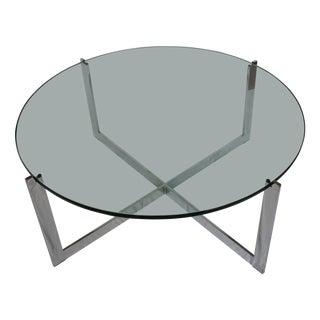 Milo Baughman Chrome & Glass Round Coffee Table