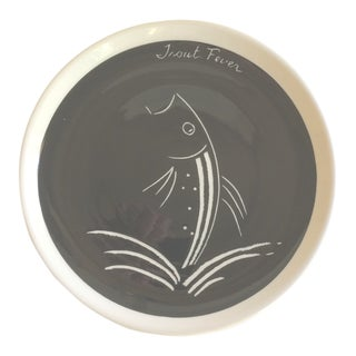 "Vintage ""Trout Fever"" Ceramic Art Plate"