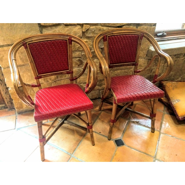 Vintage Woven French Bistro Chairs - Set of 6 - Image 7 of 11