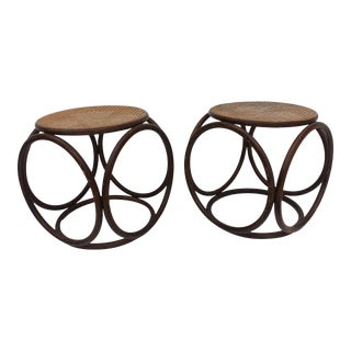 Thonet Bentwood & Cane Stools / Side Tables - A Pair