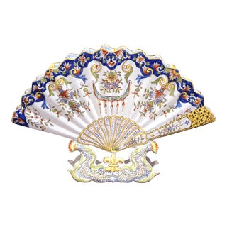 19th Century French Hand-Painted Ceramic Fan Bouquetiere from Rouen