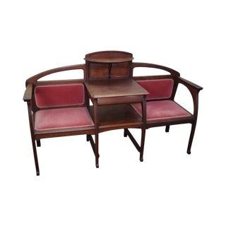Antique Art Nouveau French Walnut Tete-a-Tete Bench