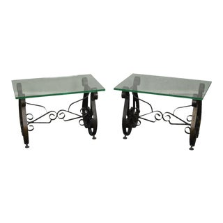 Hollywood Regency Mid Century Scrolled Iron Lyre Base Glass Top Side Tables - a Pair