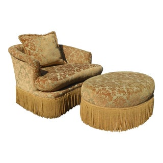 Gold Velvet Loveseat Accent Chair & Ottoman by Key City