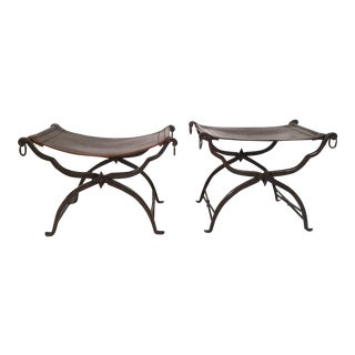 Matched Pair of Leather and Iron Morgan Colt Stools or Benches