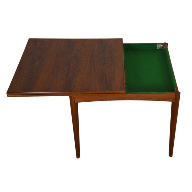 Danish Modern Teak Square to Rectangle Dining / Game Table - Image 1 of 7