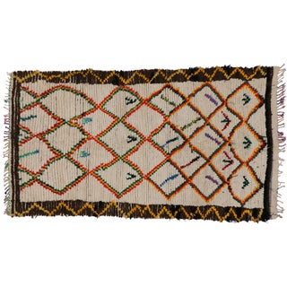 Mid-Century Modern Vintage Berber Moroccan Rug With Abstract Tribal Style - 4′7″ × 8′2″