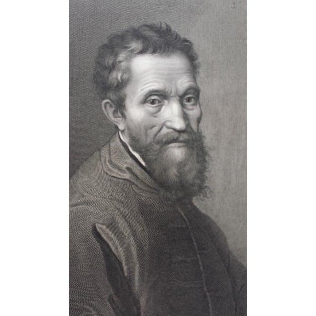 Antique 1875 Michelangelo Self Portrait Engraving - Image 3 of 4