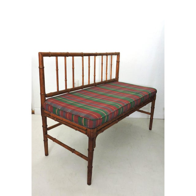 Vintage Bamboo Hall Bench - Image 2 of 6