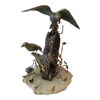 C Jere Birds in Flight Bronze & Onyx Sculpture Mid Century Modern MCM