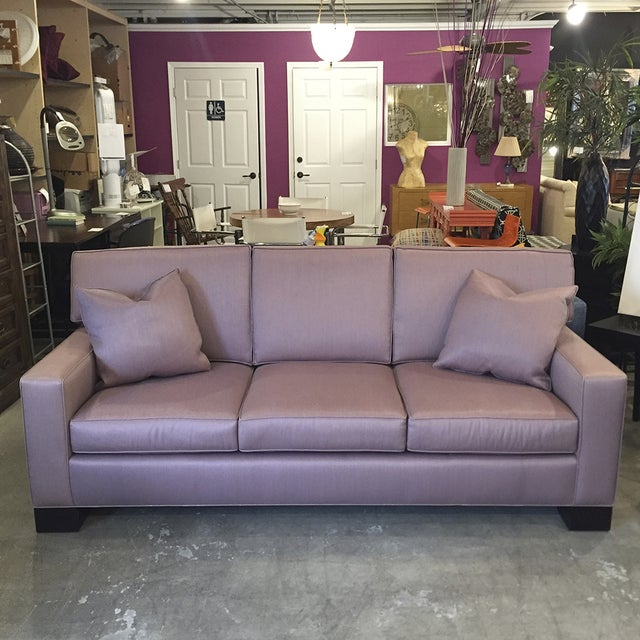 Custom Mauve Linen Designer Sofa with Pillows - Image 2 of 11