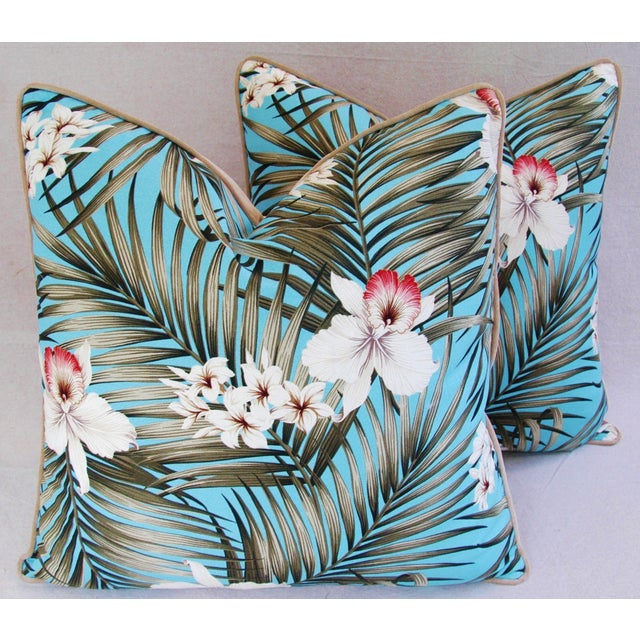 Custom Tropical Palm & Orchid Pillows - A Pair - Image 2 of 11