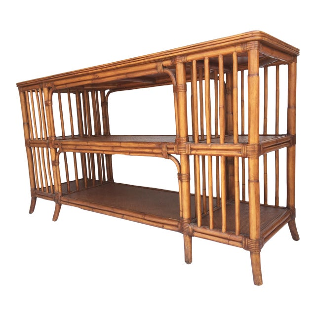Reeded Bamboo and Woven Rattan Open Shelf ConsoleTable - Image 1 of 6