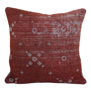 Antique Distressed Red Kilim Rug Pillow