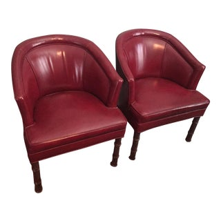 Vintage Red Club Chairs - A Pair