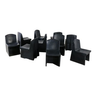 Norix Black Molded Plastic Side or Slipper Chairs - Set of 10