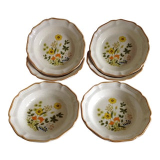 Mid-Century Floral Cottage Style Dinner Bowls - Set of 8