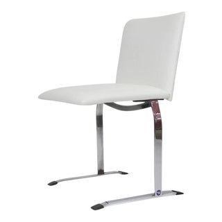 Saporiti Dining Chairs in White Vinyl on Chrome Steel Frame