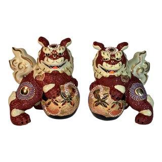Vintage Kutani Porcelain Foo Dogs - a Pair