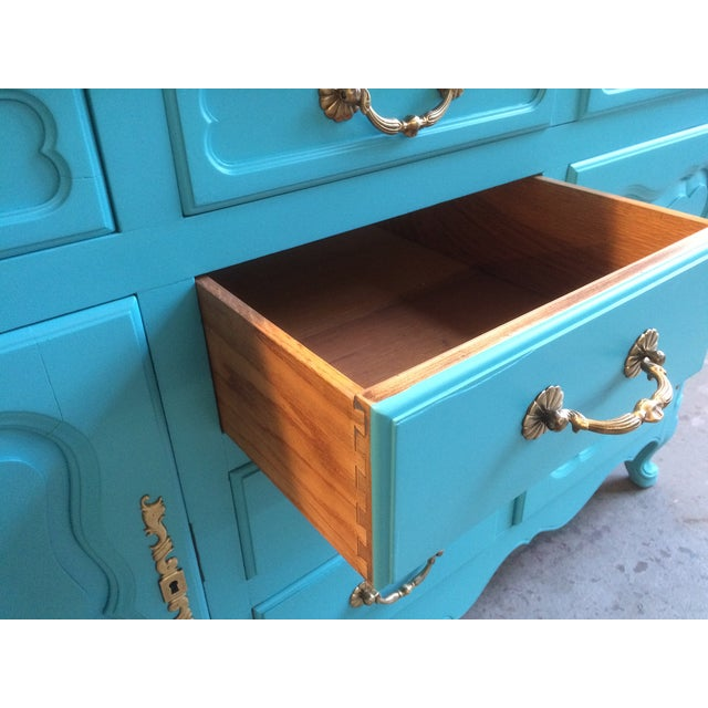 American Turquoise Chippendale Style Oak Hutch - Image 8 of 10