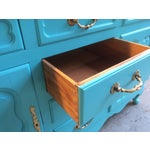 Image of American Turquoise Chippendale Style Oak Hutch